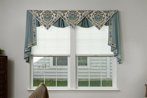 """Another company said it couldn't be done, when a client requested to have a valance made out of a quilt she loved.  I think this """"impossible valance"""" turned out beautifully, thanks to my talented team of artisans and installers.!"""