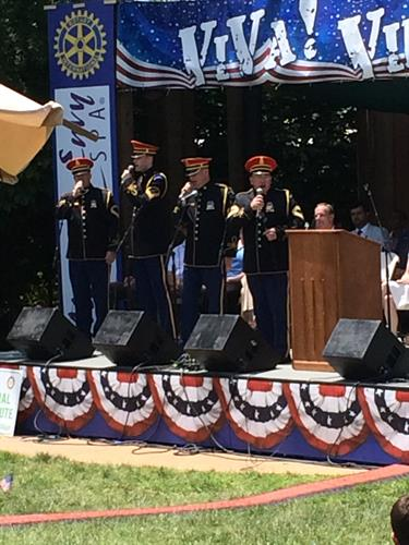 Marine Corp Band playing at Viva Vienna. Volunteer to work at Viva thru contacting Rotary Club of Vienna.