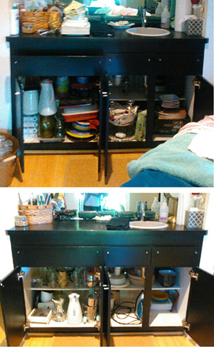 No job is too small! Glad 2 Organize helped declutter and reorganize a wet bar.