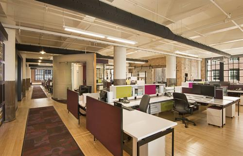 LHB's Minneapolis Office focuses on employee comfort, with its open floor plan, displacement ventilation, and daylighting.