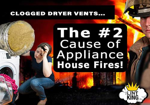 Failure to properly clean a dryer vent is the #2 Cause of Home Appliance Fires! Learn more at https://thelintking.com/FAQs