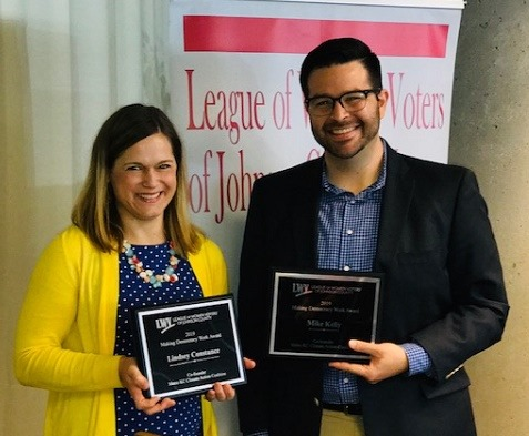 LWVJoCo presented Lindsey Constance, Shawnee City Council member, and Mike Kelly, Roeland Park major, with Making Democracy Work Awards for their leadership in creating the Metro KC Climate Action Coalition to address climate change at the regional level.