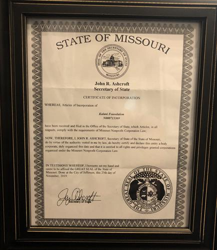 Incorporation with State of Missouri 2019