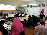 Students learning English at the Don Bosco ESL School