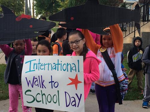 Rosedale scholars celebrate International Walk to School Day.