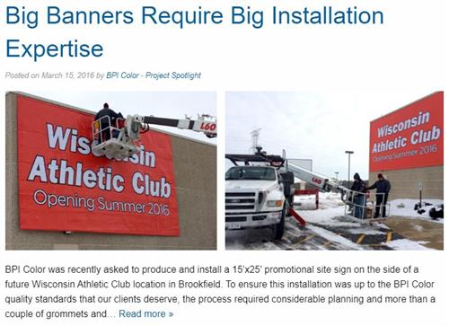 Wisconsin Athletic Club - Banner Installation - BPI Color