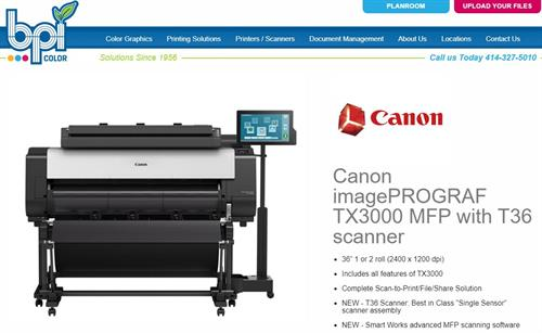 "Canon TX3000 MFP - 2 roll - 36"" Plotter and Scanner - BPI Color"