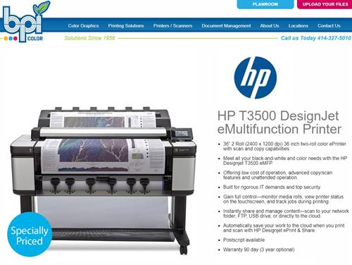 "HP T3500 MFP - 2 roll - 36"" Plotter and Scanner - BPI Color"