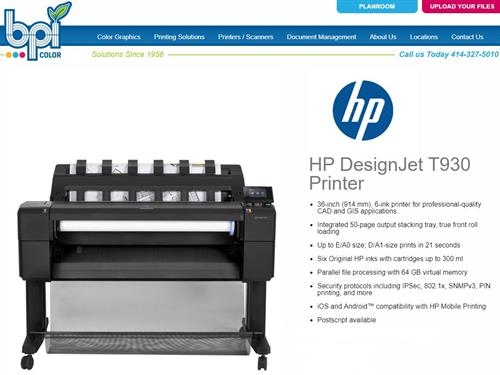 "HP T930 - 36"" Plotter - BPI Color"