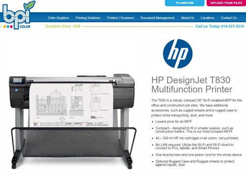 HP T830 - Jobsite Tech - Rugged Plotter - BPI Color