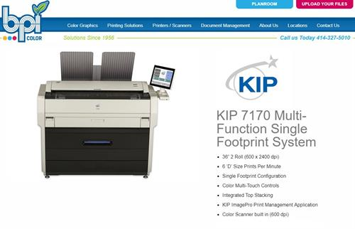 KIP 7170 - B/W Toner - Plotter and Scanner - Production Speeds - BPI Color