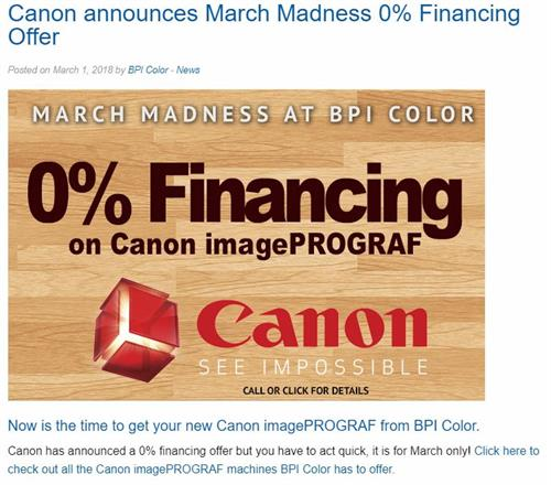 Canon 0% Financing - BPI News