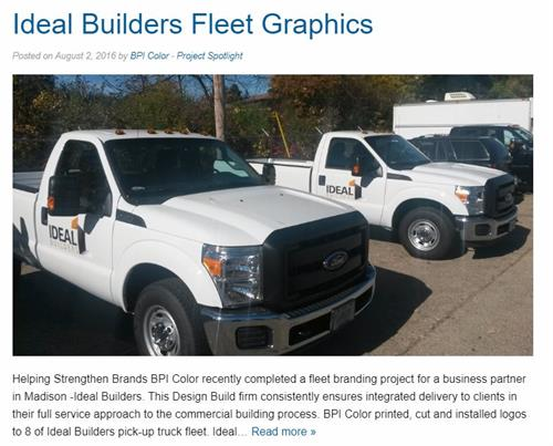 Vehicle Decals - Ideal Builders - BPI Color