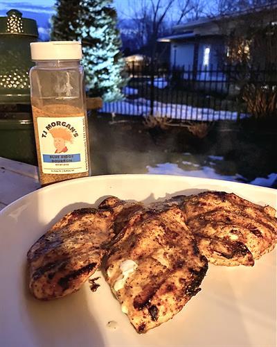 TJ's fan favorite - Blue Ridge Bourbon on grilled chicken!