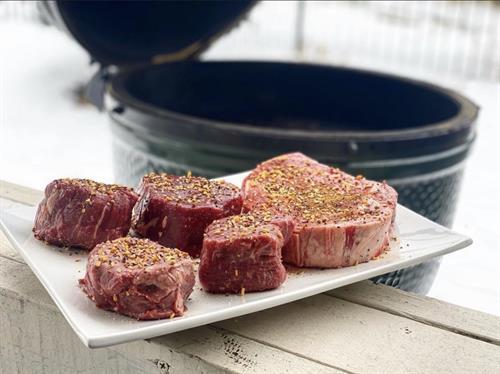 Thick cut steak seasoned with TJ's Sadie's Steak & Smoldering Steak seasoning!