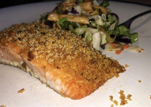 TJ's Mohave Mesquite seasoning on top of grilled salmon!