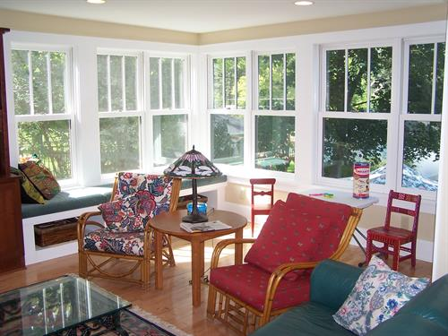 Family Room - features new windows, custom woodwork and built-in bench
