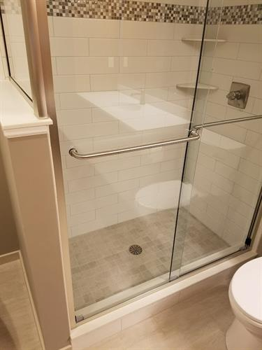 Tile Shower with Custom Glass