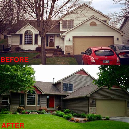 Before and After of siding job