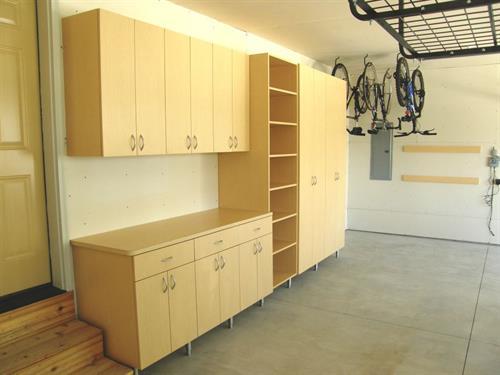 Custom Garage Organization - Cabinets, Shelving, Ceiling Racks