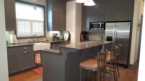 Spacious kitchen great for entertaining; stocked with all cookware, etc.; new appliances