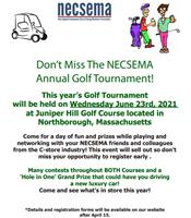 Save the Date: NECSEMA's Annual Golf Tournament will be held on Wednesday June 23rd, 2021