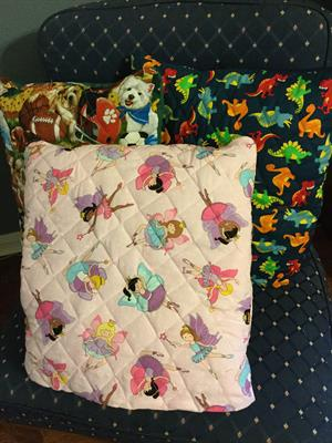 Quillows for kids: 55. Quilts that fold into attached pillow. Excellent for vehicle trips, sleep overs, outdoor games or just lounging. Specify design.