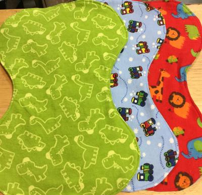 Burp cloths: Sample designs for the little guys. Designs dependent on fabric availability.