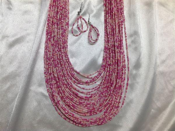"20"" Pink Seed Bead Necklace & Earring Set.  $8.00"