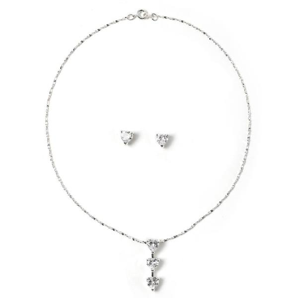 Past, Present, and Future Necklace and Earring Set with Cubic Zirconia Stones.  $10.00