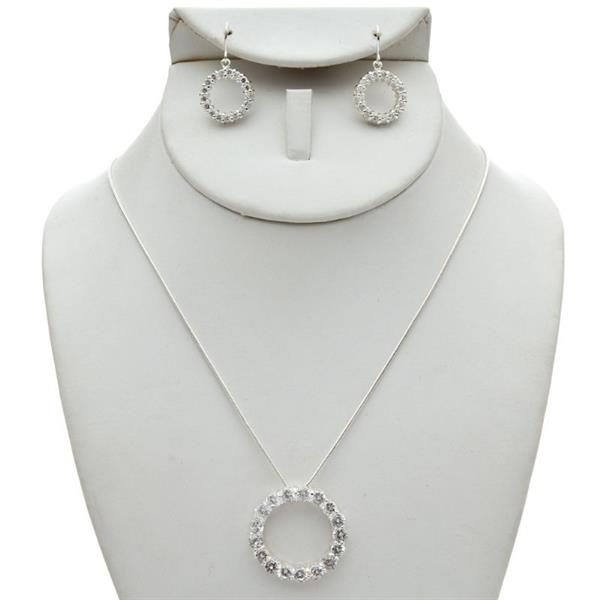 "Circle O Necklace & Earring Set with Cubic Zirconia Stones.  ""Called Circle of Life"" $9.00"