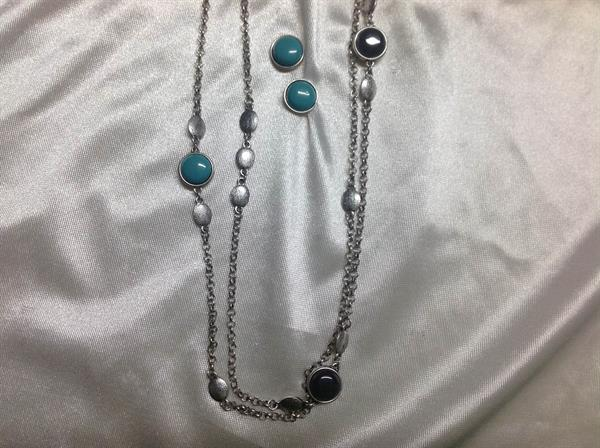 "41"" Rhodium chain with TQ & Gray Disc Neck and ER Set.  $8.00"