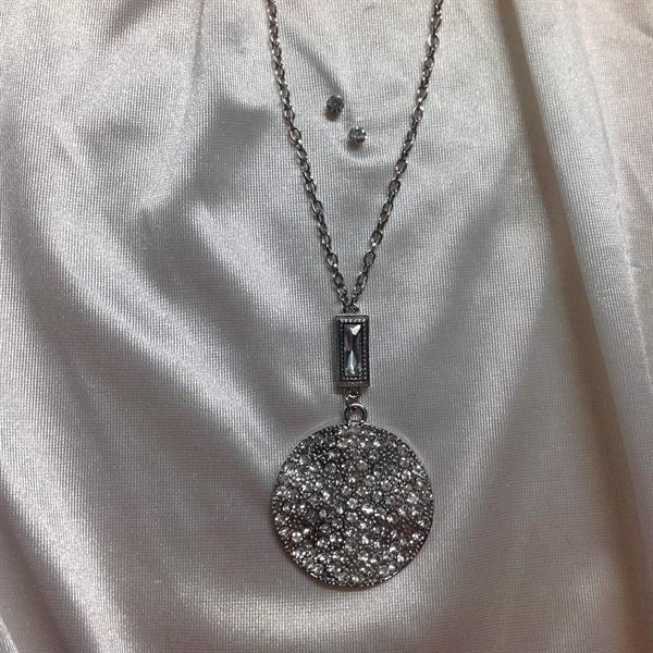 "33"" Rhodium Necklace and Earring Set with a large circle with rhinestones.  $9.00"