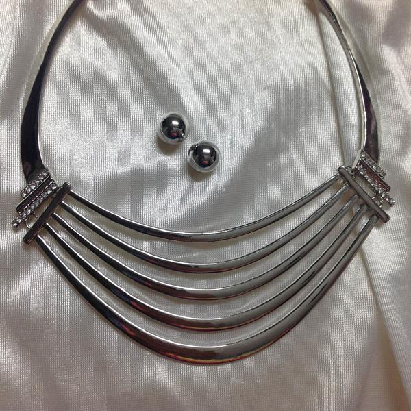 Rhodium chocker Necklace and Earring Set.  $11.00