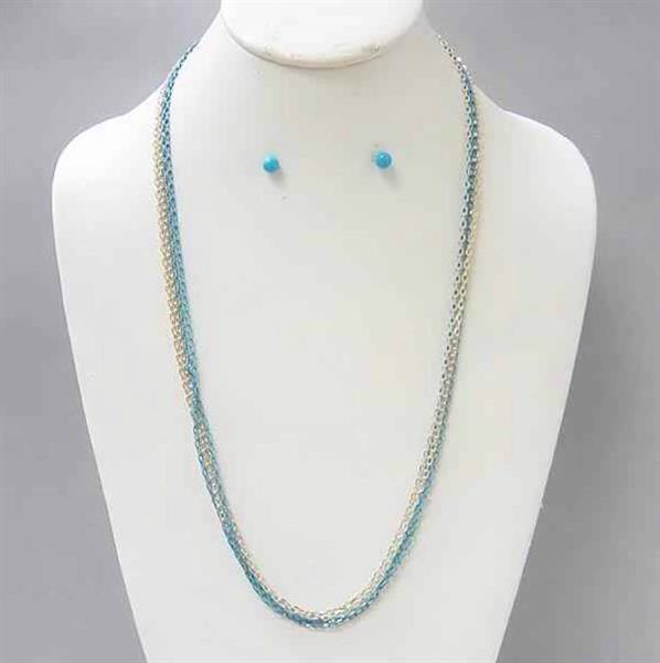 Simple Rhodium & AQUA Chain Necklace and Earring Set. $6.00.