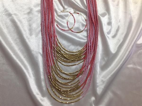 "29"" Pink & Gold See Bead Necklace & Earring Set.  $10.00"