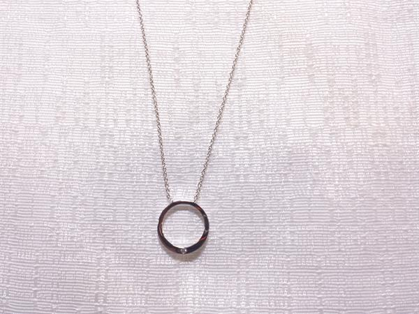 Circle O Necklace with one Cubic Zirconia Stone. $9.00