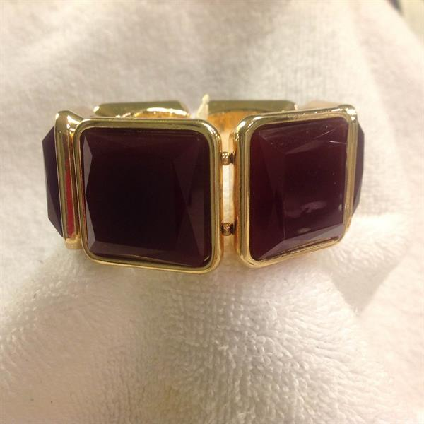 Gold with Burgundy Square Stretch Bracelet $8.00