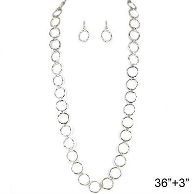 "36"" Rhodium Circle O Necklace & Earring Set.  $8.00  Temp Out of Stock"