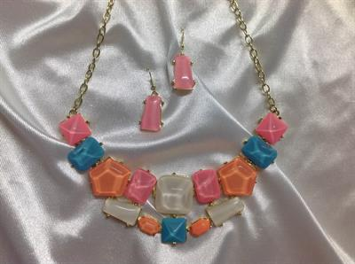 "19"" Pink, Orange, Blue, & White Necklace& Earring Set.  $8.00"