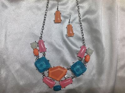 "23"" Blue, Pink, & Orange Necklace & Earring Set.  $8.00"