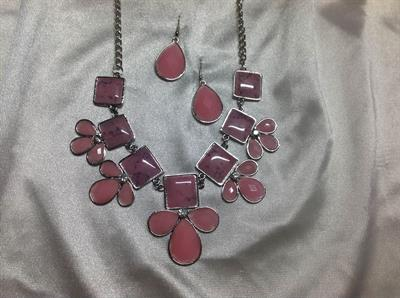 "19"" Pink with Rhinestone Necklace & Earring Set.  $9.00"