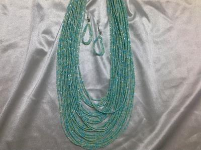 "20"" Mint Seed Bead Necklace & Earring Set.  $8.00"