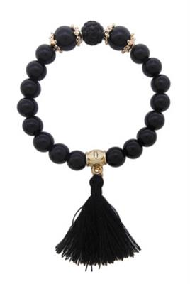Black Beaded with Black Tassel Bracelet. $5.00