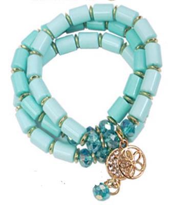 3 Strand AQUA Charm Crystal Bracelet.  $6.00