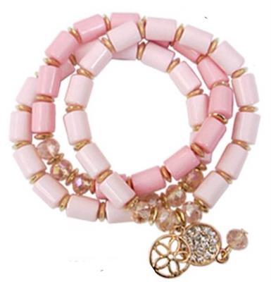 3 Strand Pink Charm Crystal Bracelet.  $6.00