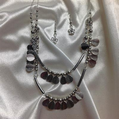 "20"" 2 Row rhodium Necklace and Earring Set.  $10.00"