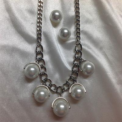 "19"" Rhodium Necklace and Earring Set with 5 Pearl dangles.  $8.00"