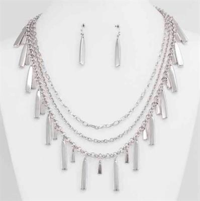 Three Row Link Chain Necklace & Earring Set with Dangle Drops.  $7.00