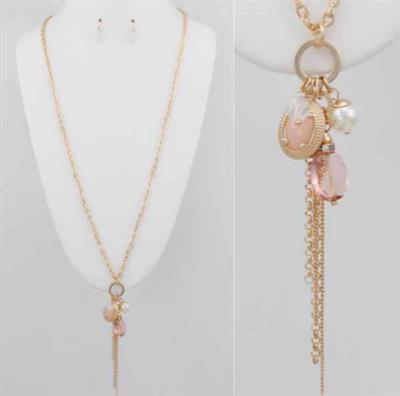 Gold Chain Necklace & Earring Set with Stone Beads and Gold Tassel.  $7.00